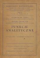 Saks, Stanisław, 1938, Funkcje analityczne : wykłady uniwersyteckie