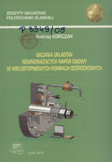 Badania układów równoważących napór osiowy w wielostopniowych pompach odśrodkowych