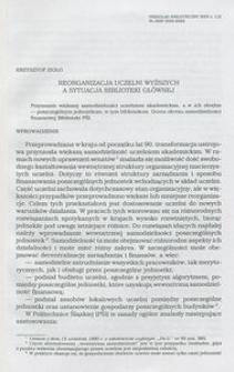 Reorganizacja uczelni wyższych a sytuacja Biblioteki Głównej