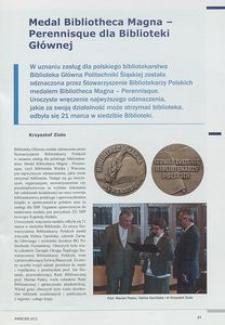 Medal Bibliotheca Magna-Perennisque dla Biblioteki Głównej