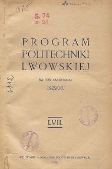 Program Politechniki Lwowskiej na rok akademicki 1929/30