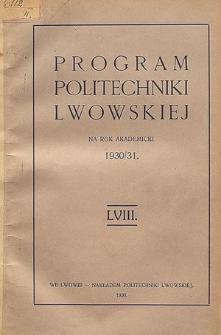 Program Politechniki Lwowskiej na rok akademicki 1930/31