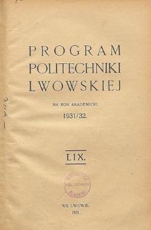 Program Politechniki Lwowskiej na rok akademicki 1931/32