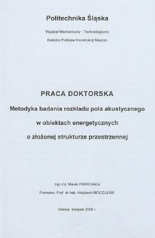 Metodyka badania rozkładu pola akustycznego w obiektach energetycznych o złożonej strukturze przestrzennej