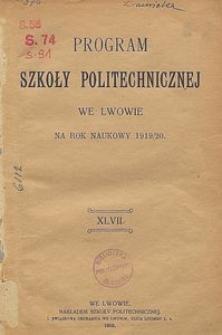 Program Szkoły Politechnicznej we Lwowie na rok naukowy 1919/20