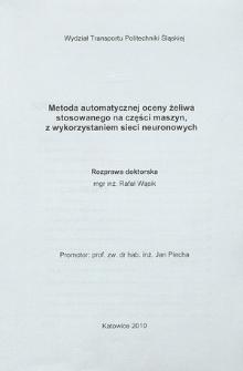 Metoda automatycznej oceny żeliwa stosowanego na części maszyn, z wykorzystaniem sieci neuronowych