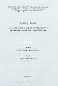 Modelowanie i badanie jednowymiarowych drgających układów mechatronicznych