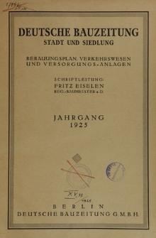 Deutsche Bauzeitung. Stadt und Siedlung, Jg. 62, Inhaltsverzeichnis