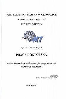 Badanie morfologii i własności fizycznych cienkich warstw poliazometin