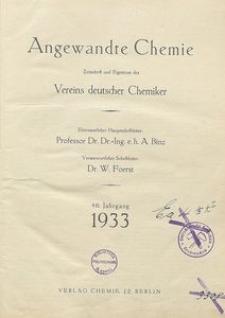 Angewandte Chemie, 1933, Jg. 46, Inhaltsverzeichnis
