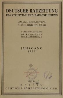 Deutsche Bauzeitung. Wettbewerbe: Baukunst und Schwesterkünste, Jg. 59, Inhaltsverzeichnis