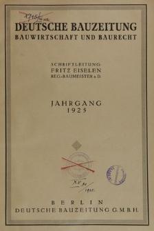 Deutsche Bauzeitung. Bauwirtschaft und Baurecht, Jg. 59, Inhaltsverzeichnis