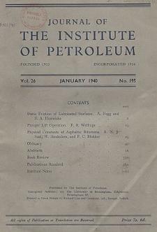 Journal of the Institute of Petroleum, Vol. 27, Subject index