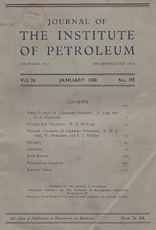 Journal of the Institute of Petroleum, Vol. 28, Contents