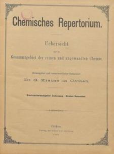 Chemisches Repertorium, Jg. 22, Inhalts-Verzeichniss