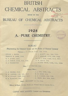 British Chemical Abstracts. A. Pure Chemistry, List of patents abstracted