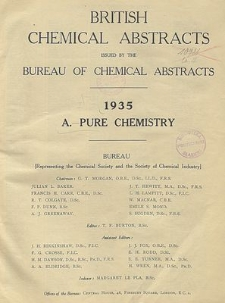 British Chemical Abstracts. A. Pure Chemistry, August