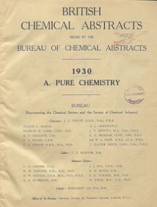 British Chemical Abstracts. A. Pure Chemistry, May