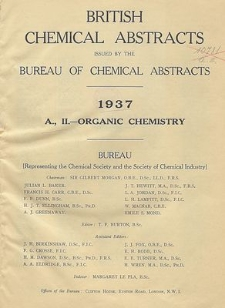 British Chemical Abstracts. A. Pure Chemistry. II. Organic Chemistry, April