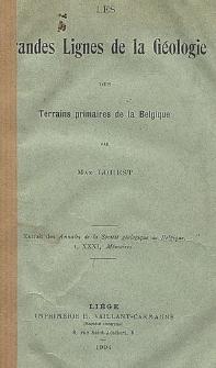 Les grandes lignes de la géologie des terrains primaires de la Belgique
