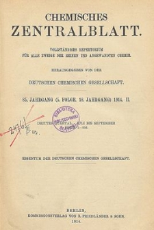Chemisches Zentralblatt : vollständiges Repertorium für alle Zweige der reinen und angewandten Chemie, Jg. 85, Bd. 1, Nr.21