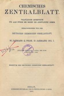 Chemisches Zentralblatt : vollständiges Repertorium für alle Zweige der reinen und angewandten Chemie, Jg. 86, Bd. 1, Nr. 16