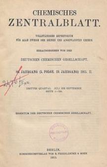 Chemisches Zentralblatt : vollständiges Repertorium für alle Zweige der reinen und angewandten Chemie, Jg. 86, Bd. 1, Sachregister