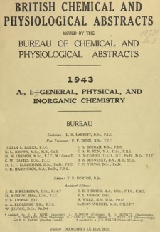 British Chemical and Physiological Abstracts. A. Pure Chemistry and Physiology. I. General, Physical, and Inorganic Chemistry, Foreword