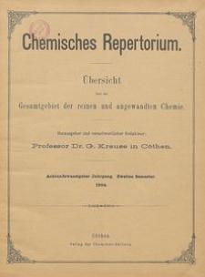Chemisches Repertorium, Jg. 28, Inhalts-Verzeichniss