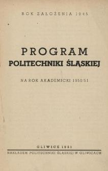 Program Politechniki Śląskiej na rok akademicki 1950/51