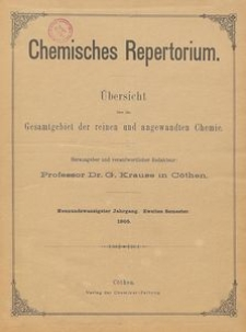 Chemisches Repertorium, Jg. 29, Inhaltsverzeichnis