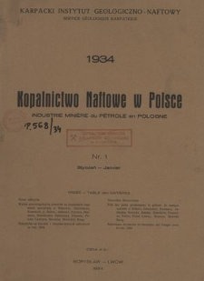 Kopalnictwo Naftowe w Polsce, R. 2, Nr. 1