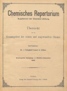 Chemisches Repertorium, Jg. 30, Inhaltsverzeichnis