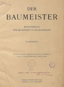 Der Baumeister, Jg. 25, Tafeln