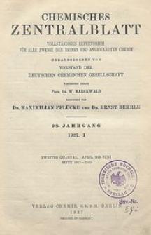 Chemisches Zentralblatt : vollständiges Repertorium für alle Zweige der reinen und angewandten Chemie, Jg. 98, Bd. 1, Nr. 23