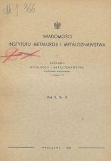 Wiadomości Instytutu Metalurgji i Metaloznawstwa oraz Zakładu Metalurgji i Metaloznawstwa Politechniki Warszawskiej, R. 3, Nr 3