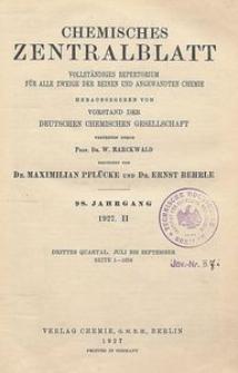 Chemisches Zentralblatt : vollständiges Repertorium für alle Zweige der reinen und angewandten Chemie, Jg. 98, Bd. 2, Nr. 1