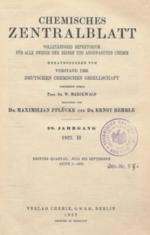 Chemisches Zentralblatt : vollständiges Repertorium für alle Zweige der reinen und angewandten Chemie, Jg. 98, Bd. 2, Nr. 7