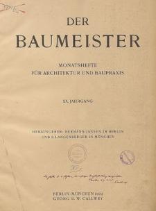 Der Baumeister, Jg. 36, Inhalts-Verzeichnis