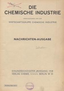 Die Chemische Industrie, 1938, Jg 61, Inhaltsverzeichnis