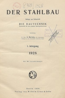 Der Stahlbau : Beilage zur Zeitschrift die Bautechnik, Jg. 5, Heft 11