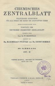 Chemisches Zentralblatt : vollständiges Repertorium für alle Zweige der reinen und angewandten Chemie, Jg. 98, Bd. 2, Nr. 19