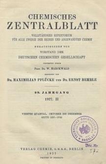 Chemisches Zentralblatt : vollständiges Repertorium für alle Zweige der reinen und angewandten Chemie, Jg. 98, Bd. 2, Nr. 23