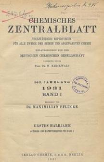 Chemisches Zentralblatt : vollständiges Repertorium für alle Zweige der reinen und angewandten Chemie, Jg. 102, Bd. 1, Autoren-Register