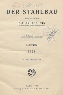 Der Stahlbau : Beilage zur Zeitschrift die Bautechnik, Jg. 11, Inhalts-Verzeichnis
