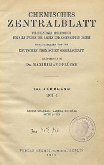 Chemisches Zentralblatt : vollständiges Repertorium für alle Zweige der reinen und angewandten Chemie, Jg. 104, Bd. 1, Nr. 1