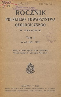 Rocznik Polskiego Towarzystwa Geologicznego, Tom 1 za rok 1921 i 1922