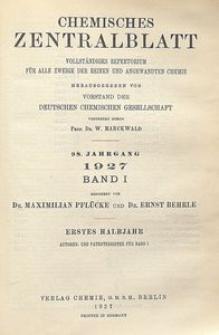 Chemisches Zentralblatt : vollständiges Repertorium für alle Zweige der reinen und angewandten Chemie, Jg. 98, Bd. 1, Autoren-Register