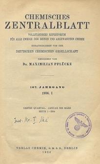 Chemisches Zentralblatt : vollständiges Repertorium für alle Zweige der reinen und angewandten Chemie, Jg. 107, Bd. 1, Nr.3
