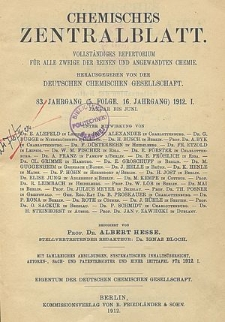 Chemisches Zentralblatt : vollständiges Repertorium für alle Zweige der reinen und angewandten Chemie, Jg. 106, Bd. 1, Nr. 6